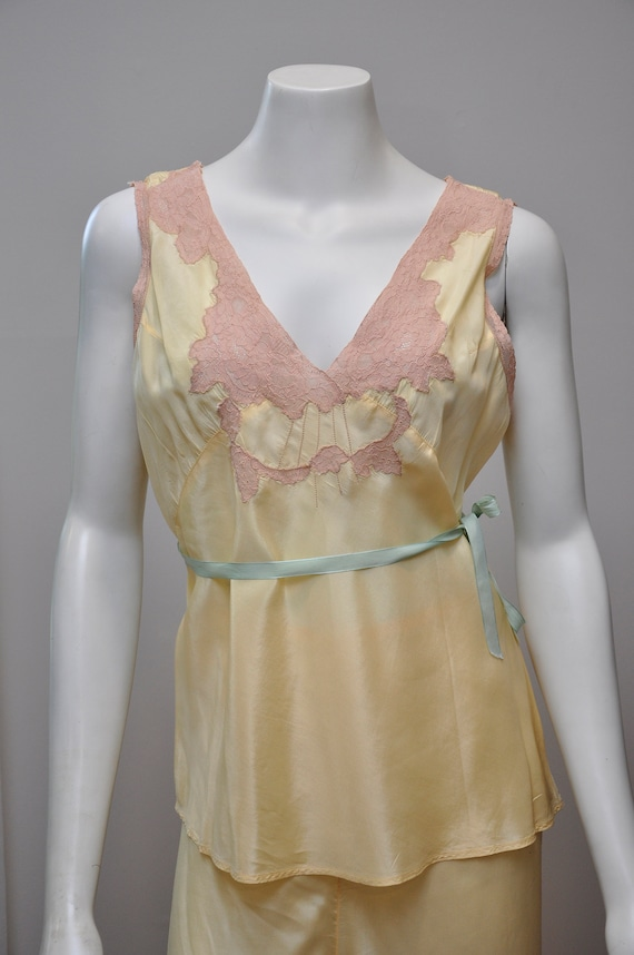 1930s silk and lace loungwear set | vintage 30s y… - image 3