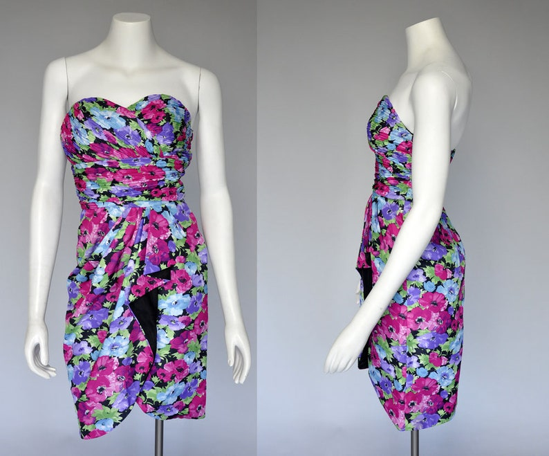 vintage 80s floral dress  1980s bright floral sleeveless image 0