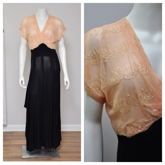 1940s sequin dress | vintage 40s black and peach d