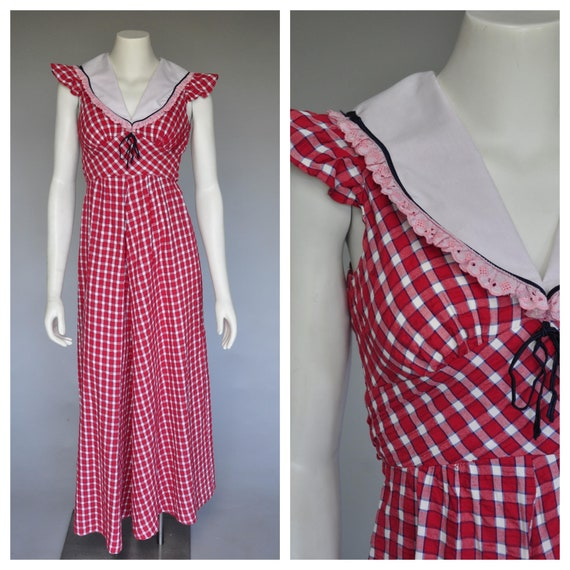 60s does 30s red checked sleeveless dress XS