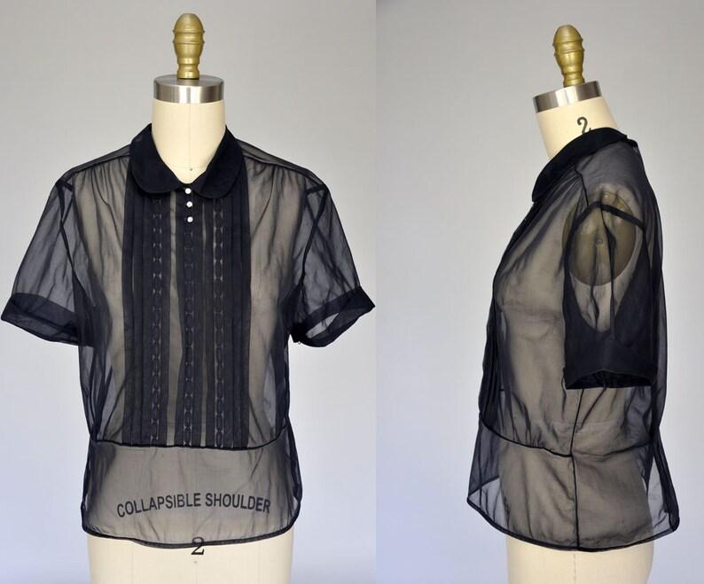 1950s nylon blouse  sheer 50s shirt  navy blue vintage image 0