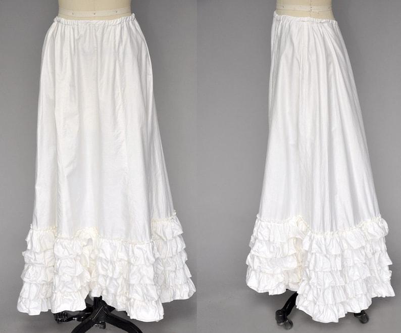 antique victorian skirt  1800s skirt  ruffled cotton maxi image 0