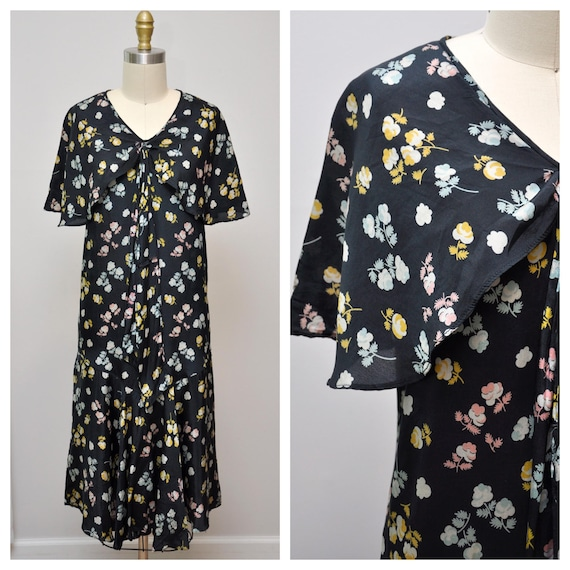 1920s dark floral dress with capelet XXS