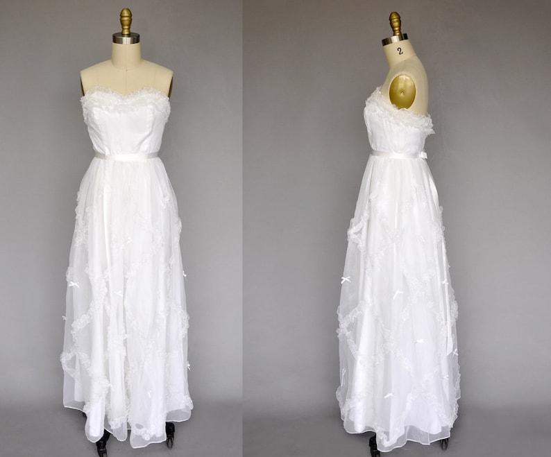 70s wedding gown  vintage 1970s sleeveless dress  70s maxi image 0