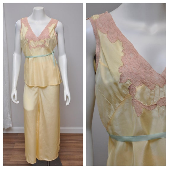 1930s silk and lace loungwear set | vintage 30s ye
