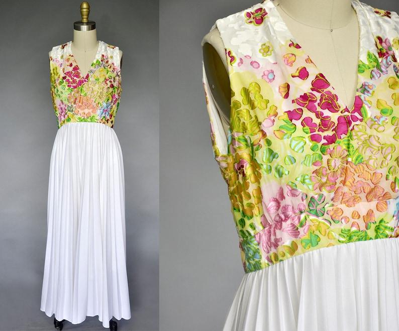 70s floral maxi  70s sleeveless maxi dress  long boho maxi image 0
