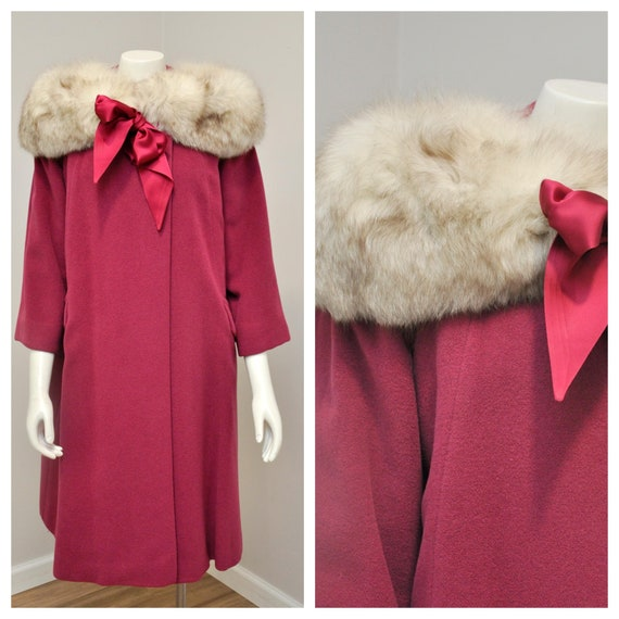 1950s raspberry pink wool swing coat with fox fur