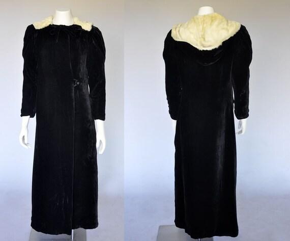 1930s velvet coat | vintage 30s black silk velvet