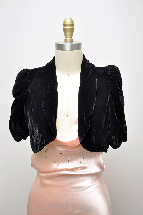 1930s black silk velvet bolero XS/S - image 2