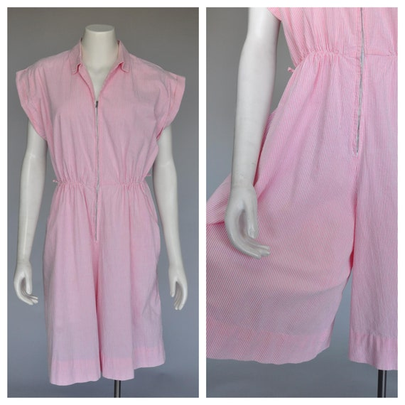 1940s pink white seersucker jumpsuit XL/PLUS
