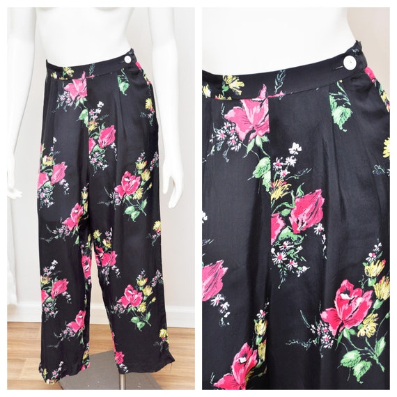 1940s rayon floral pants XS/S