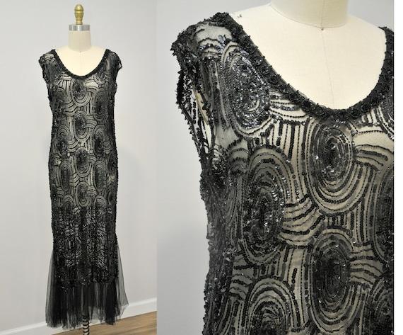 1920s flapper dress | vintage 20s sequin net gown