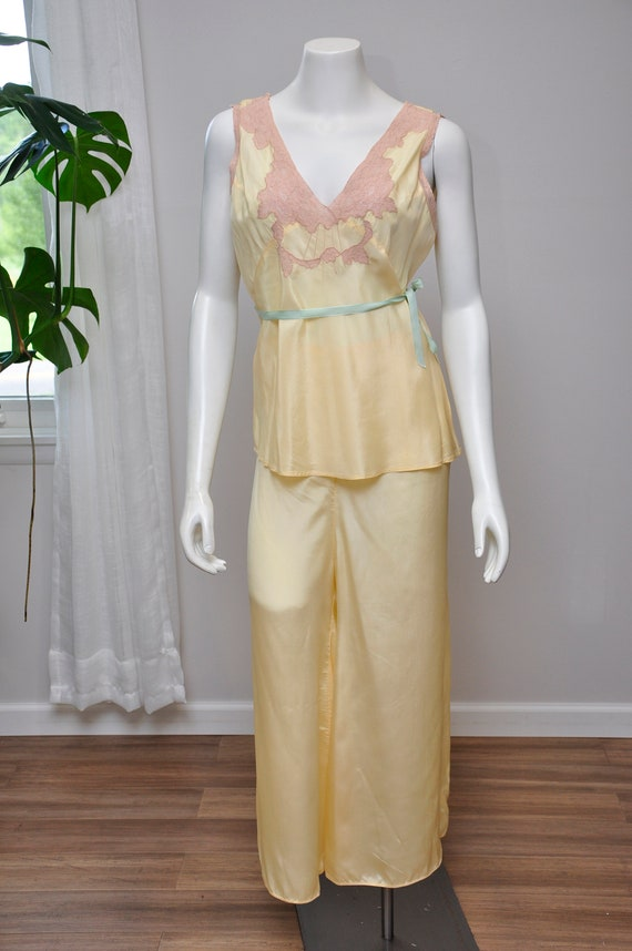 1930s silk and lace loungwear set | vintage 30s y… - image 2