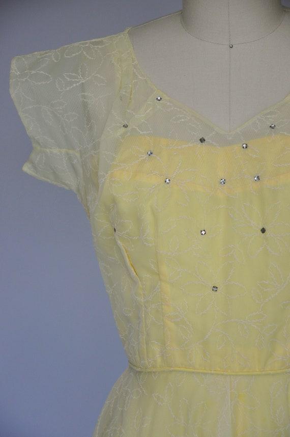 1930s yellow chiffon dress XS