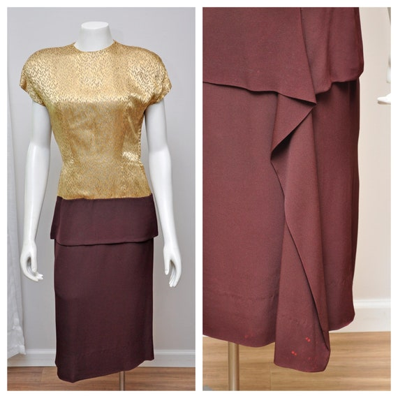 vintage 40s gold and brown dress peplum details M