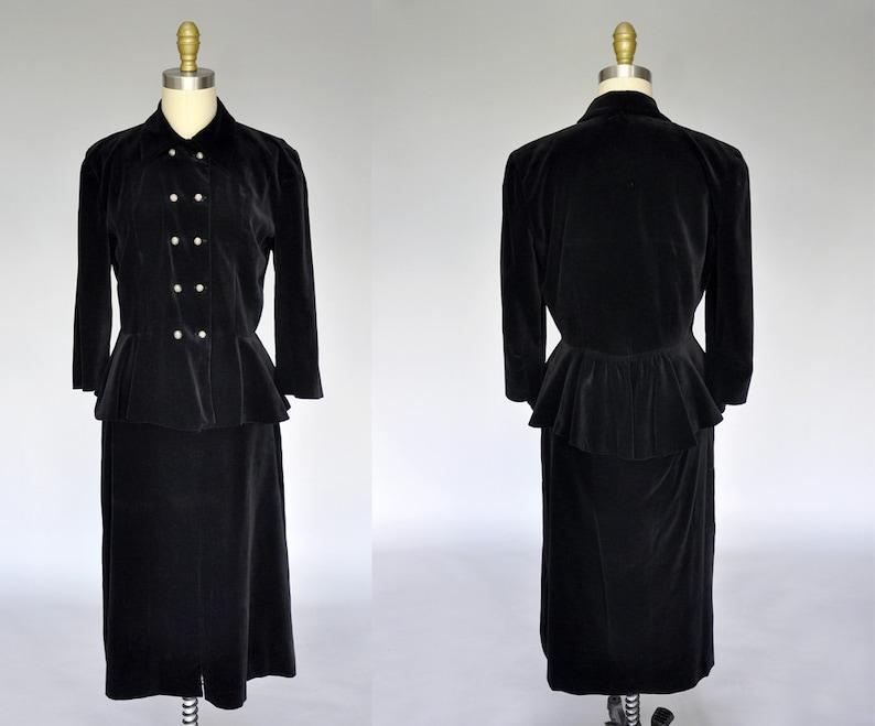1930s suit  vintage 30s black velvet suit  30s skirt set  image 0