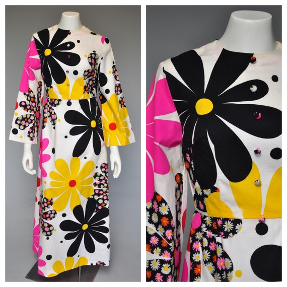1960s psychedelic flower power maxi dress
