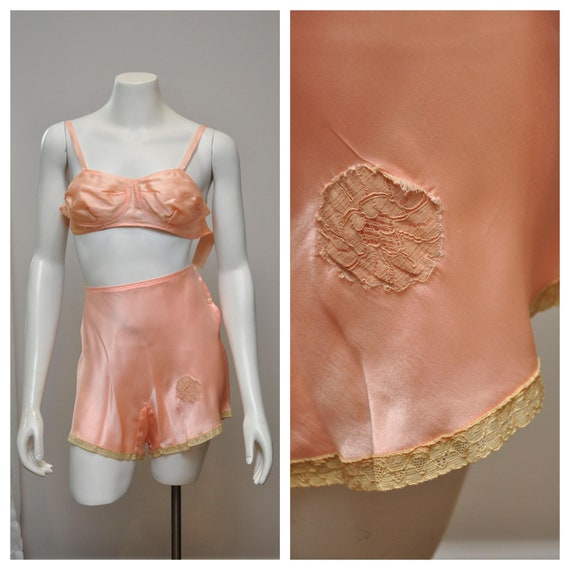 1930s peach silk tap panties with matching bra and