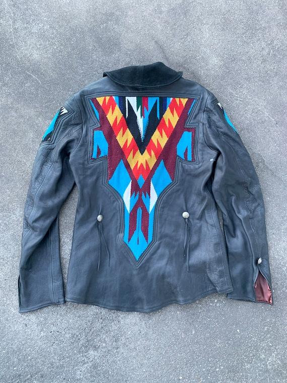 vintage chimayo style leather jacket - image 4