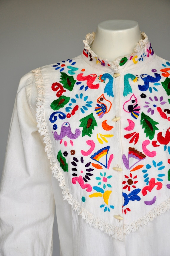 1970s Otomi Mexican blouse M/L
