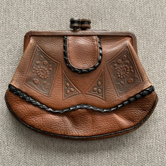 1920s 30s tooled leather clutch | 30s leather danc