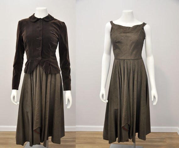 30s 40s dress set | vintage 1940s brown moire dres