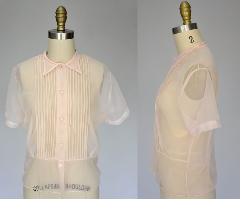 1950s nylon blouse  sheer 50s shirt  light pink vintage image 0