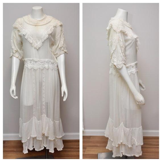 antique Edwardian white cotton lingerie dress L/XL