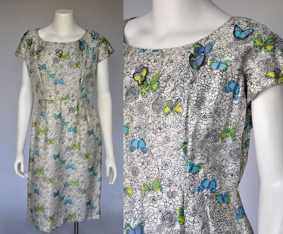 50s novelty print dress | vintage 1950s butterfly