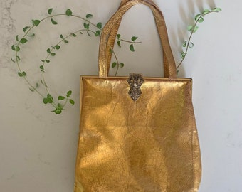 1920s gold leather purse