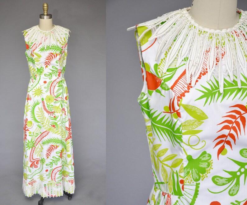 70s floral maxi dress  vintage 1970s tropical print dress  image 0