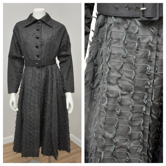 1950s black taffeta princess coat belted M
