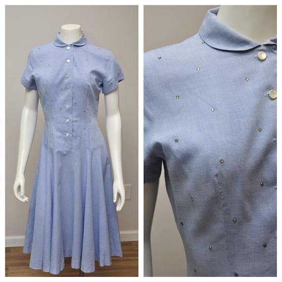 1950s Jonathan Logan blue tiny check dress rhinest