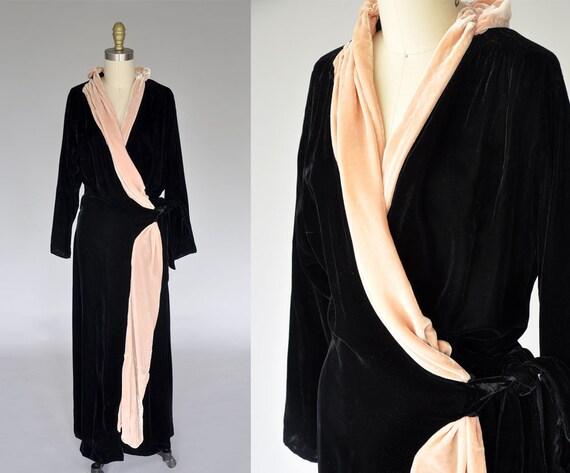 vintage 30s 40s velvet gown   1940s wrap dress   4