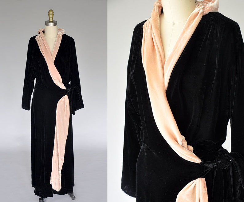 vintage 30s 40s velvet gown  1940s wrap dress  40s pink and image 0