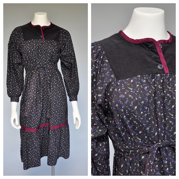 1970s ditsy floral prairie dress with corduroy yol
