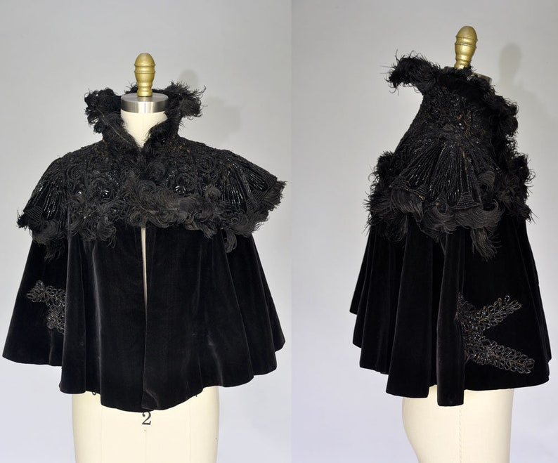 french victorian cape  black velvet capelet  victorian image 0