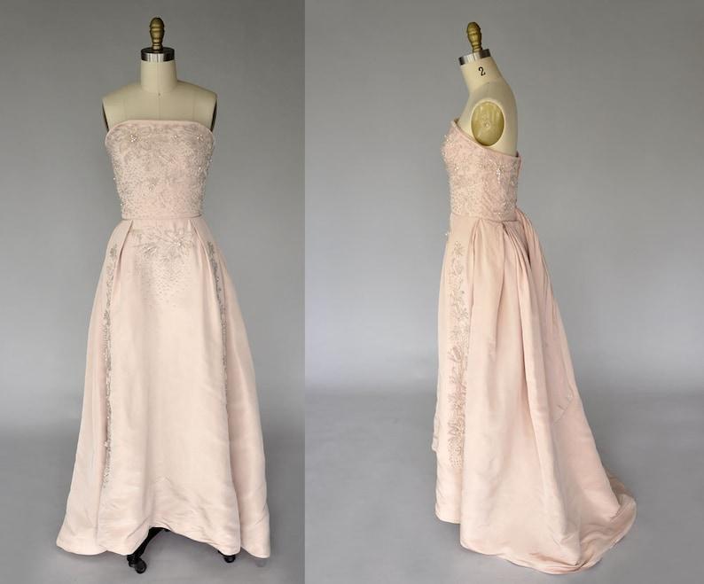 1950s ballgown  vintage 50s blush gown  50s sleeveless image 0