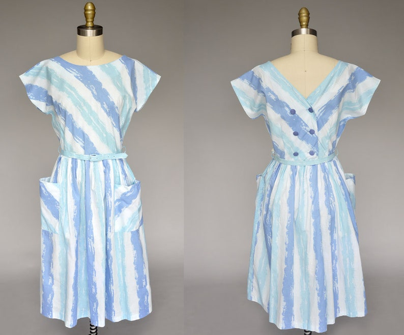 vintage 50s dress  1950s blue cotton dress  50s striped image 0