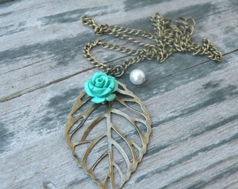 """Bronze Leaf Necklace with Swarovski Pearl and Rose 7 Color Choice 18"""""""