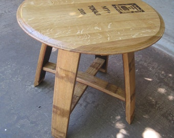Side Table made from Wine Barrel Staves and Top