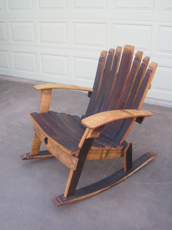 Rocking Chair Wine Barrel Chair Etsy