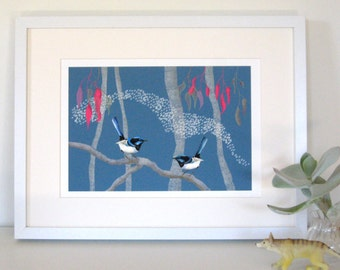 Blue Wrens, Australian bird, Illustration print, bird art, Giclee print, mixed media