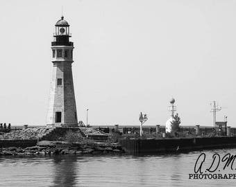 Buffalo Lighthouse #1 - Fine Art Photography - Black & White