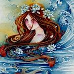 Fantasy Art Print, Blue Water, Gold Fish, Mermaid Art Print
