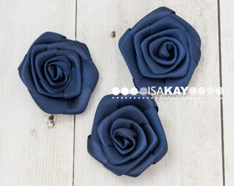 20mm 35pcs Navy blue Small rose flower,rolled rosettes,Wholesale flowers,Fabric flower,Rolled satin flower,Headband supplies