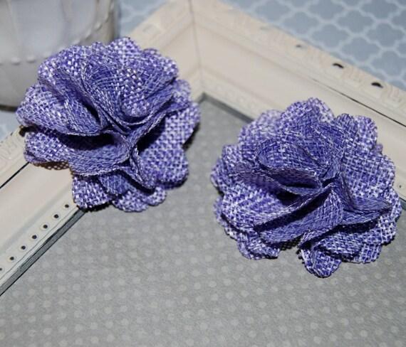 Flax Fabric Flowers Light Purple Lavender Burlap Fabric Etsy