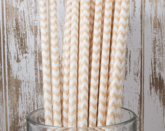 100 Ct Ivory Cream/Vanilla Chevron vintage striped paper drinking straws - with FREE DIY Flag Template