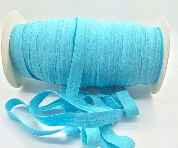 100 yard baby blue 5//8 SHIP FROM USA Wholesale Fold Over Elastic by the Roll