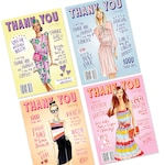 Thank you cards, thank you stationary, fashion cards, thanks, blank cards, fashion illustration, custom cards
